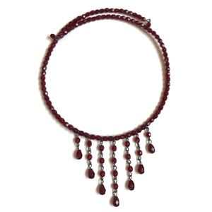 VINTAGE RED GLASS BEADED CHOKER DANGLING BEADS